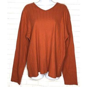 CALVIN KLEIN Orange Ribbed Long Sleeve Top